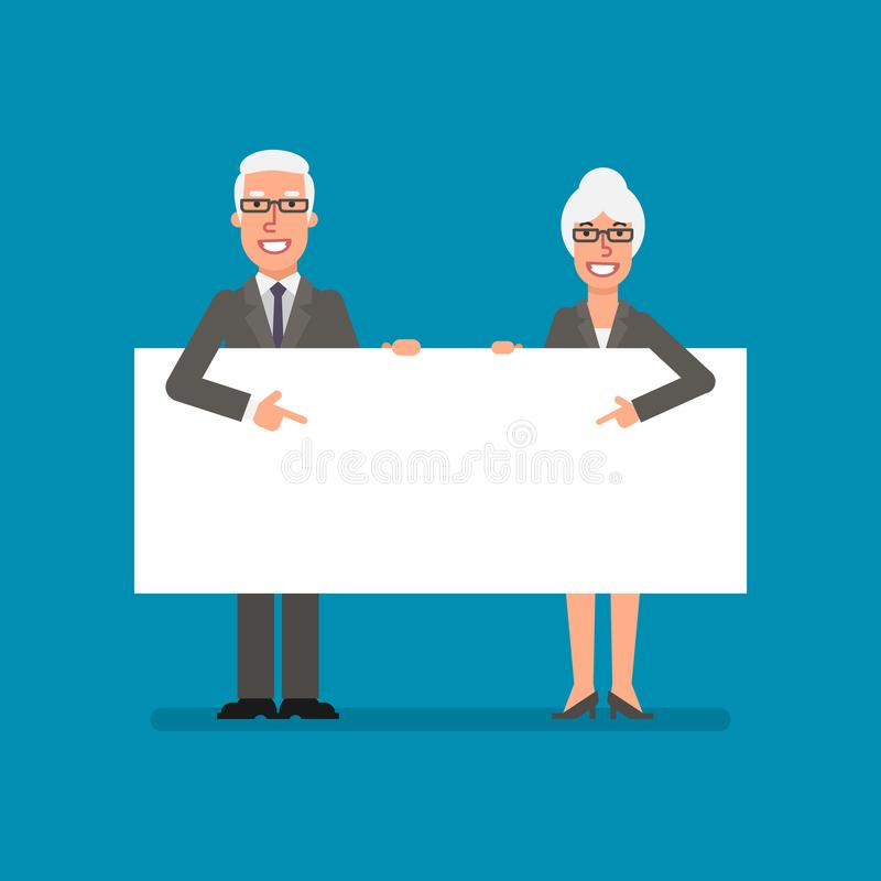Old businessman and business woman holds and points to clean she. Et paper. Business people. Vector illustration royalty free illustration