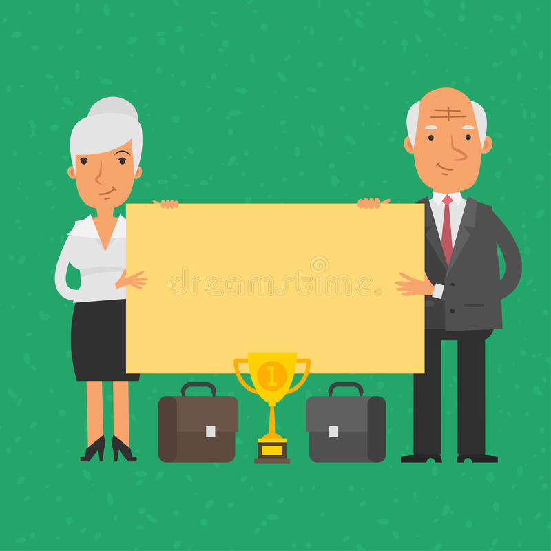 Old businessman and businesswoman holding blank poster. Illustration, old businessman and businesswoman holding blank poster, format EPS 8 royalty free illustration
