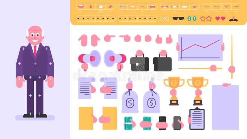 Old businessman character for animation. Set of objects. Vector Illustration stock illustration