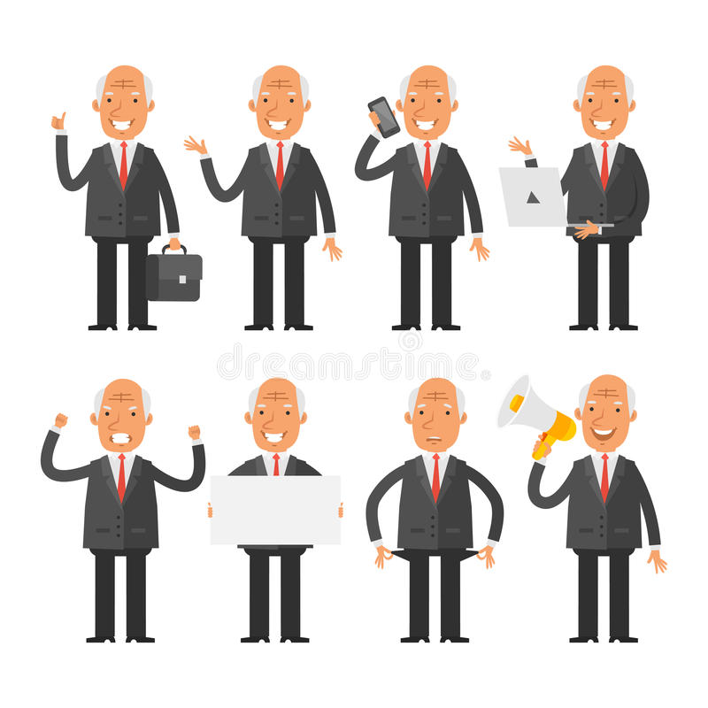 Old businessman in different poses. Vector Illustration, Old businessman in different poses, format EPS 8 stock illustration