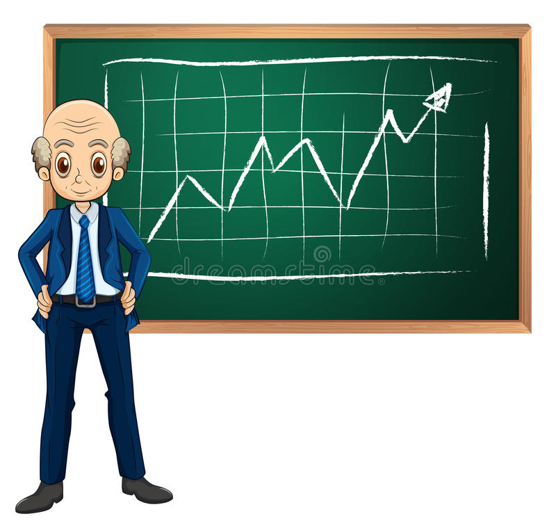 An old businessman in front of the blackboard. Illustration of an old businessman in front of the blackboard on a white background vector illustration