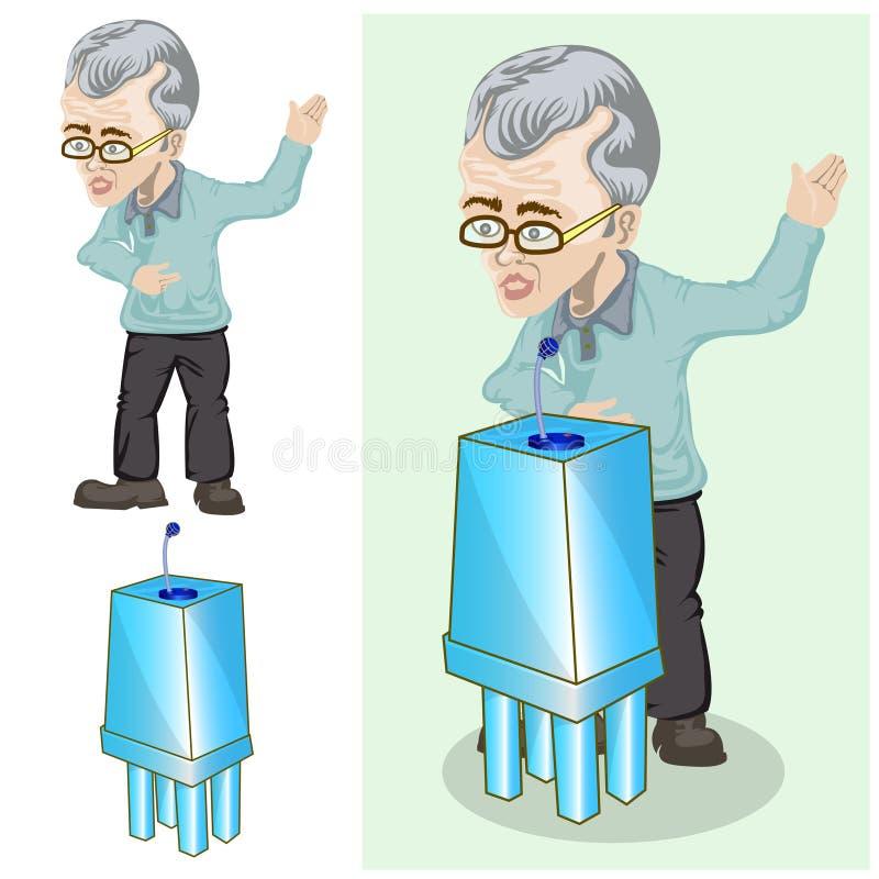 Old businessman give presentation. Hand draw illustration of old businessman give presentation stock illustration