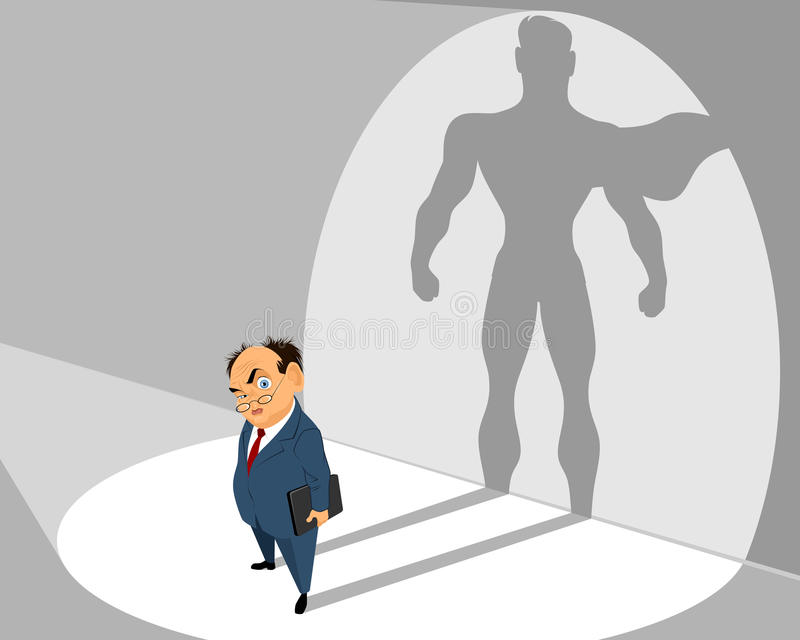 Old businessman and him silhouette stock illustration