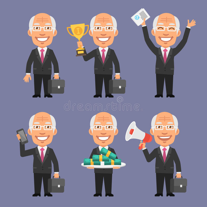 Old Businessman Holding Various Objects Part 2. Vector Illustration, Old Businessman Holding Various Objects Part 2, format EPS 8 royalty free illustration