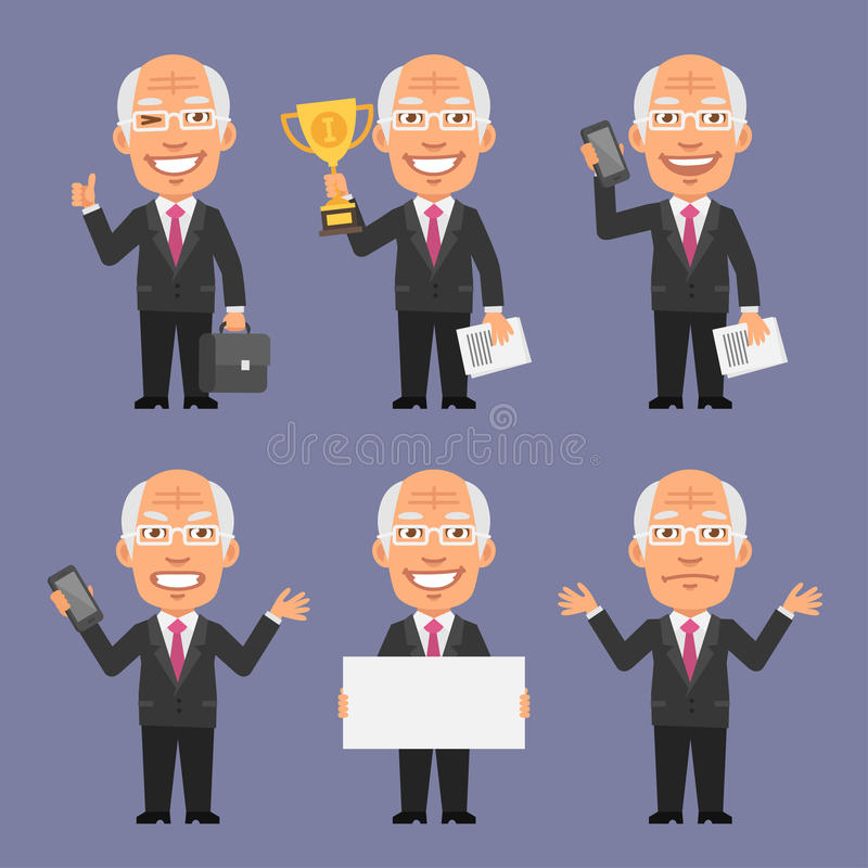 Old Businessman Holding Various Objects Part 1. Vector Illustration, Old Businessman Holding Various Objects Part 1, format EPS 8 stock illustration