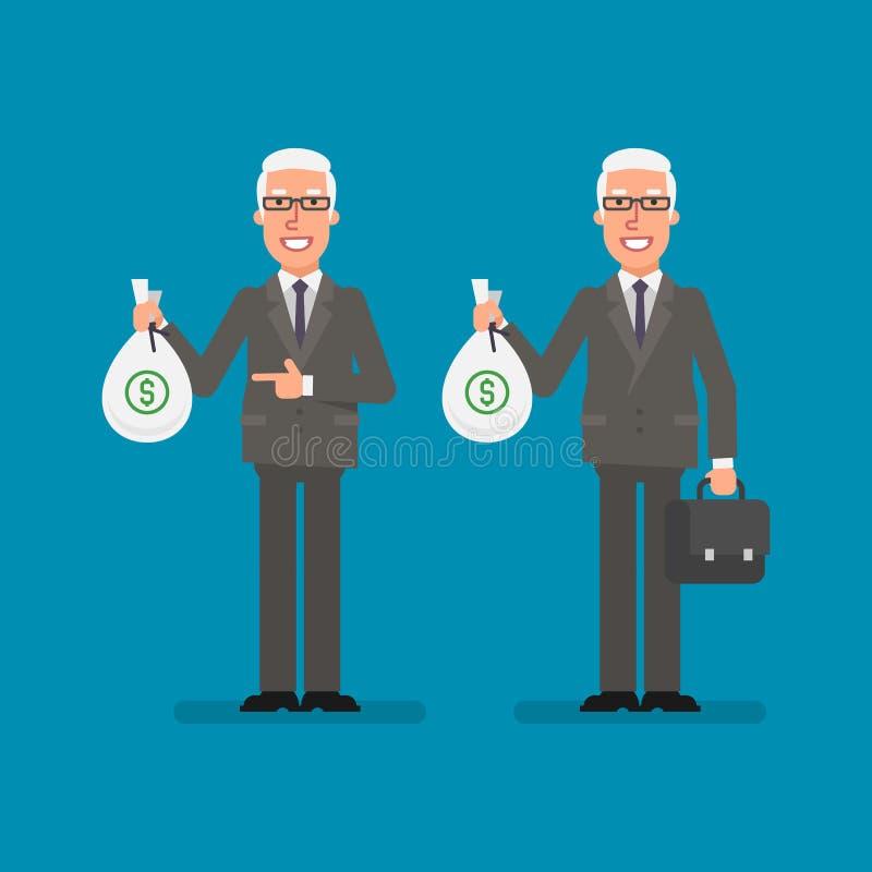 Old businessman holds bag money holds suitcase and smiling. Business people. Vector illustration stock illustration