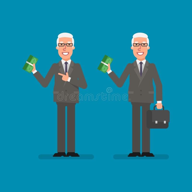 Old businessman holds bundle money holds suitcase and smiling. Business people. Vector illustration vector illustration