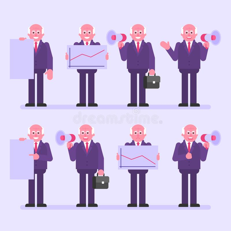 Old businessman holds megaphone sign and various objects. Character set. Vector Illustration vector illustration
