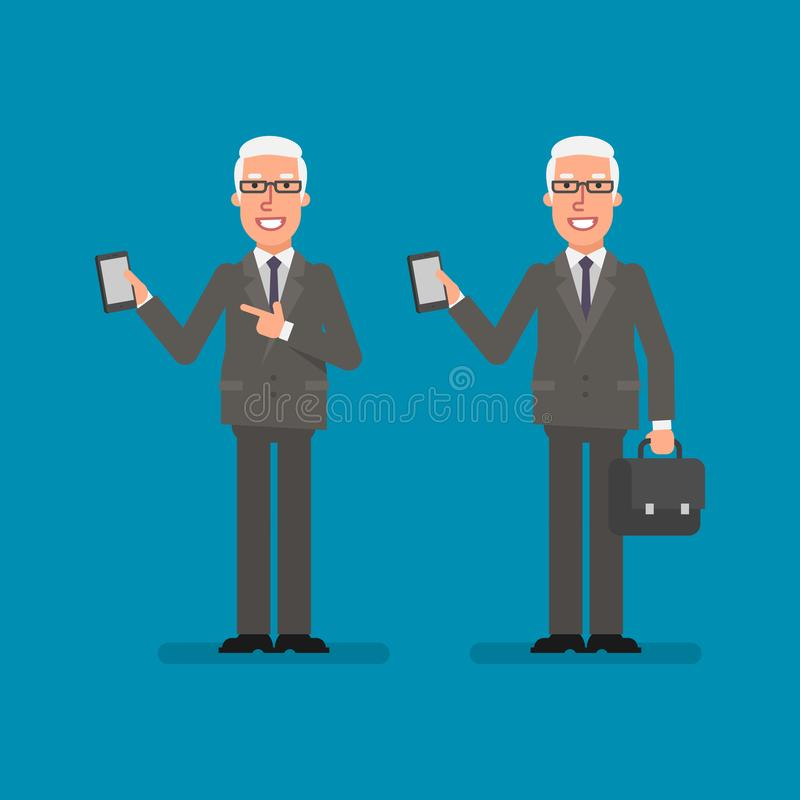 Old businessman holds mobile phone holds suitcase and smiling. Business people. Vector illustration royalty free illustration