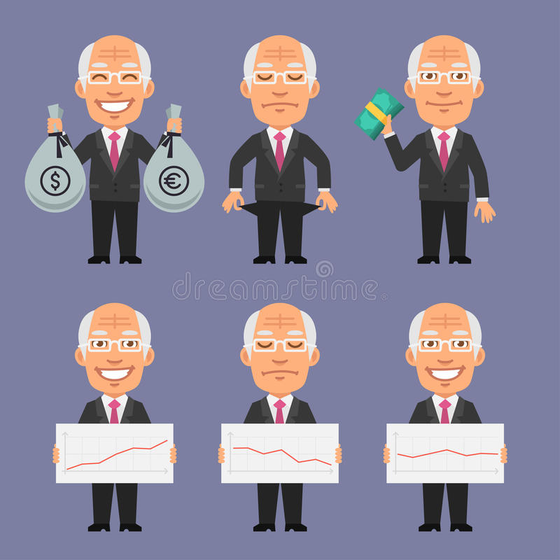 Old Businessman Holds Money and Graphics. Vector Illustration, Old Businessman Holds Money and Graphics, format EPS 8 royalty free illustration