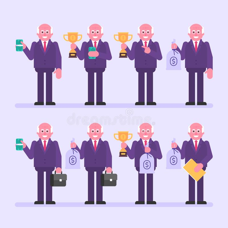 Old businessman holds money and various objects. Character set. Vector Illustration royalty free illustration