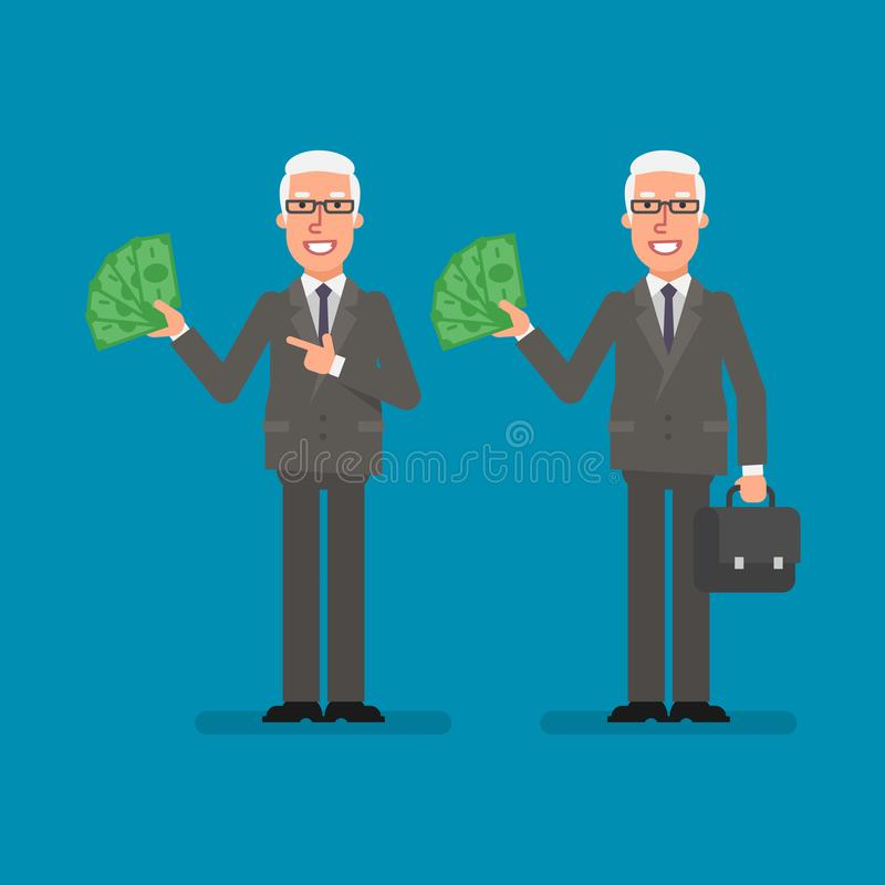 Old businessman holds paper money holds suitcase and smiling. Business people. Vector illustration vector illustration