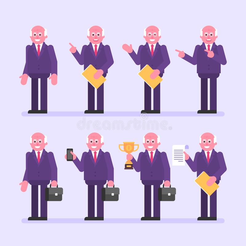 Old businessman holds suitcase folder and various objects. Character set. Vector Illustration vector illustration