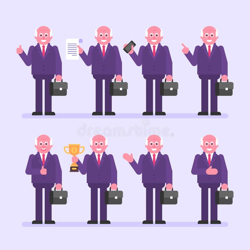 Old businessman holds suitcase and various objects. Character set. Vector Illustration royalty free illustration