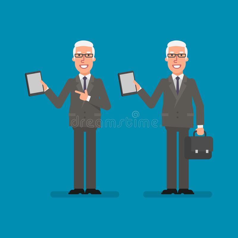 Old businessman holds tablet holds suitcase and smiling. Business people. Vector illustration stock illustration