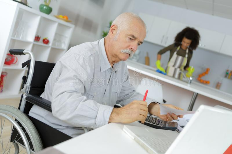 Old businessman home office royalty free stock images