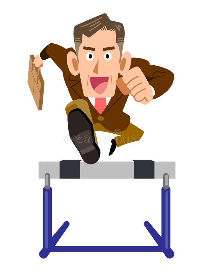 Old Businessman jumps hurdle positive. The image of an old Businessman in jumping a hurdle positive stock illustration