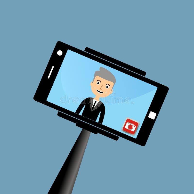 Old businessman making a selfie. Illustration vector illustration