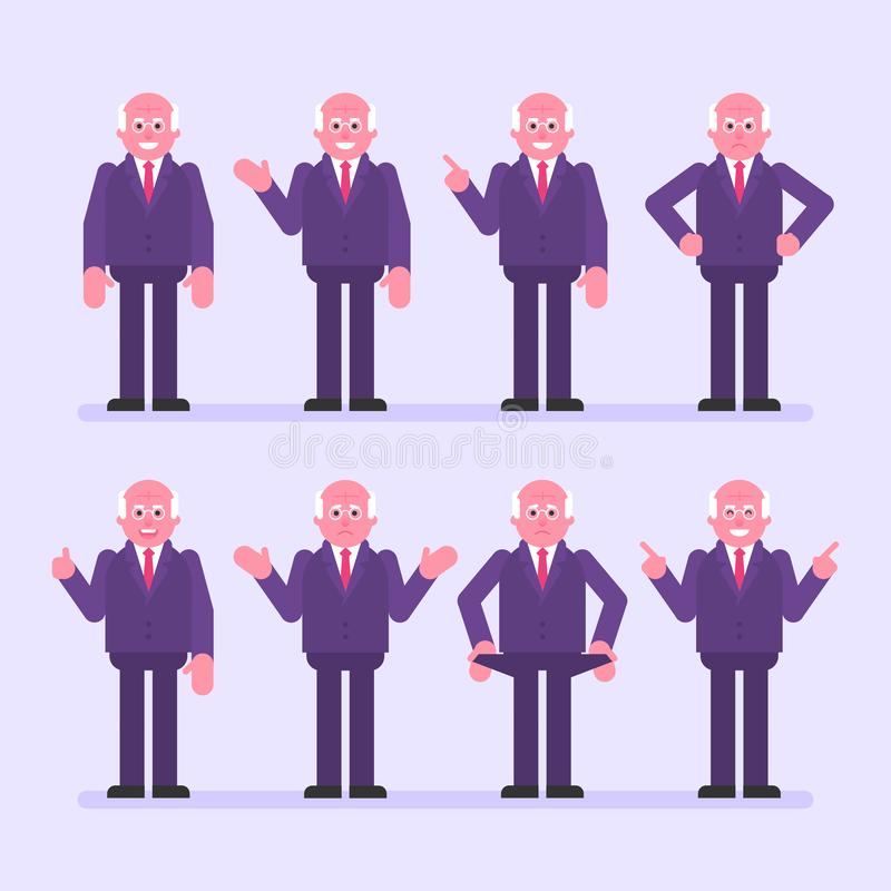 Old businessman points and shows. Character set. Vector Illustration royalty free illustration