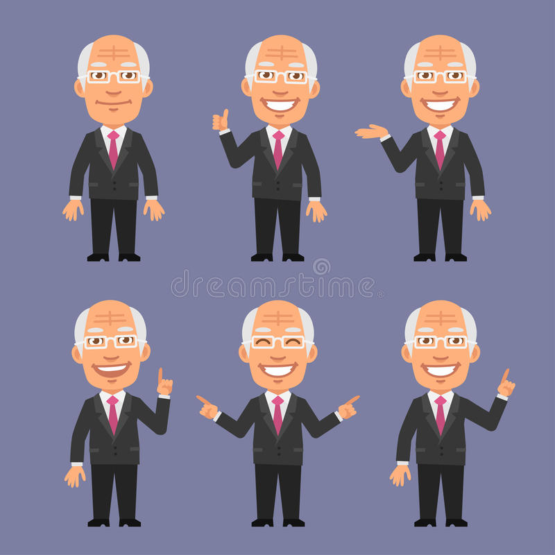 Old Businessman Showing and Points. Vector Illustration, Old Businessman Showing and Points, format EPS 8 stock illustration
