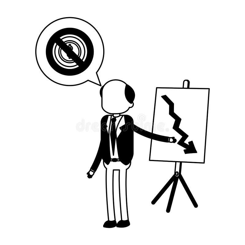 Old businessman showing statistics decreasing in black and white. Old businessman showing statistics decreasing vector illustration graphic design vector illustration
