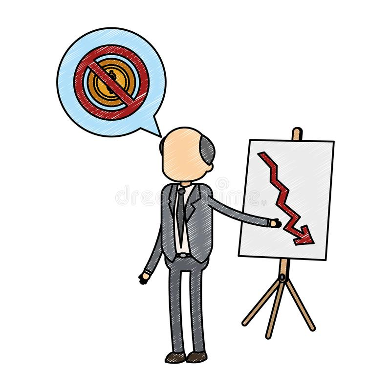 Old businessman showing statistics decreasing scribble. Old businessman showing statistics decreasing vector illustration graphic design vector illustration