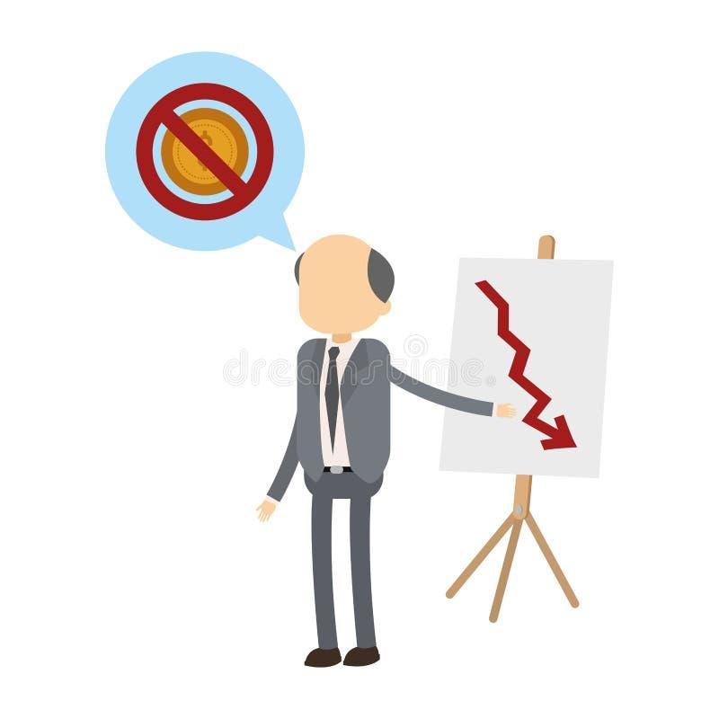 Old businessman showing statistics decreasing. Vector illustration graphic design vector illustration