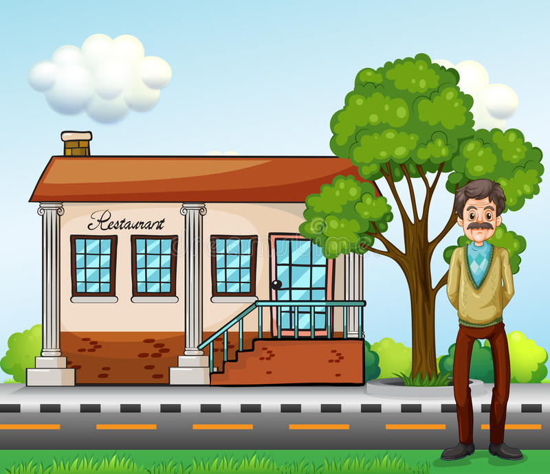 An old businessman standing in front of the restaurant. Illustration of an old businessman standing in front of the restaurant vector illustration