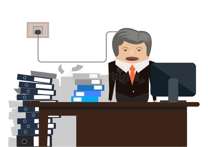 Old businessman stress & hard working illustration. Old businessman stress & hard working in office illustration vector illustration