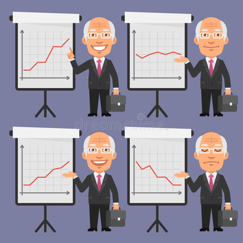 Old Businessman in Suit Points to Flip Chart. Vector Illustration, Old Businessman in Suit Points to Flip Chart, format EPS 8 vector illustration