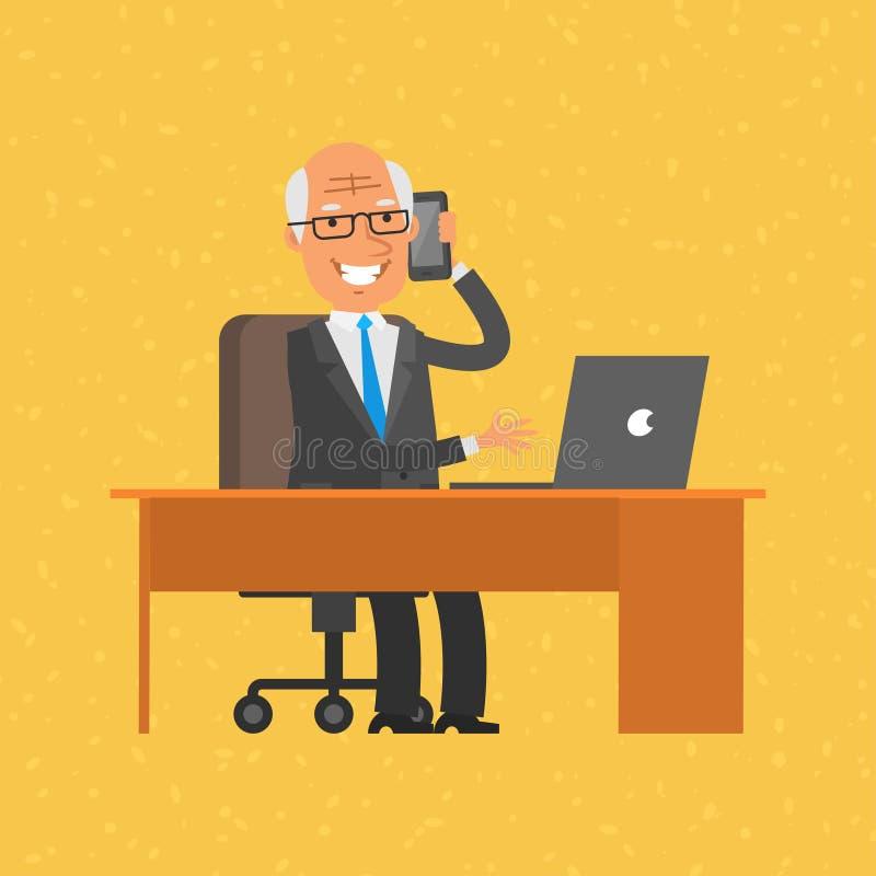 Old businessman talking on phone. Illustration, old businessman talking on phone, format EPS 8 royalty free illustration