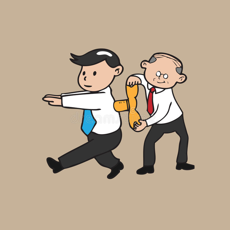 Old businessman winds up young. Businessman royalty free illustration