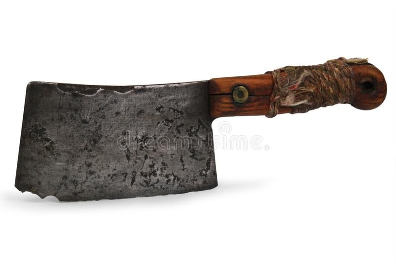 Old Butcher Knife. On White Background stock photo