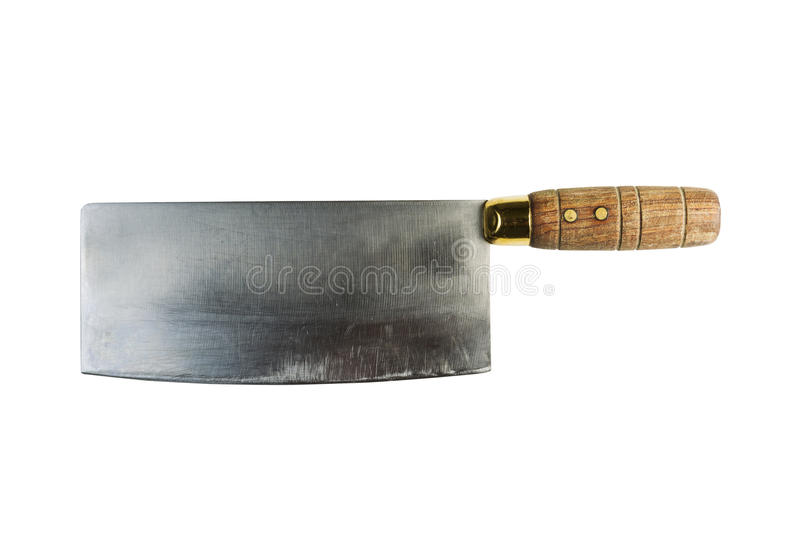Old Butcher Knife on White Background. Horizontal photo of a large old butcher knife isolated on white stock photo