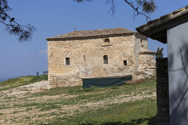Old Byzantine church in town of Nea Fokea, Kassandra, Chalkidiki, Central Macedonia, Greece stock image