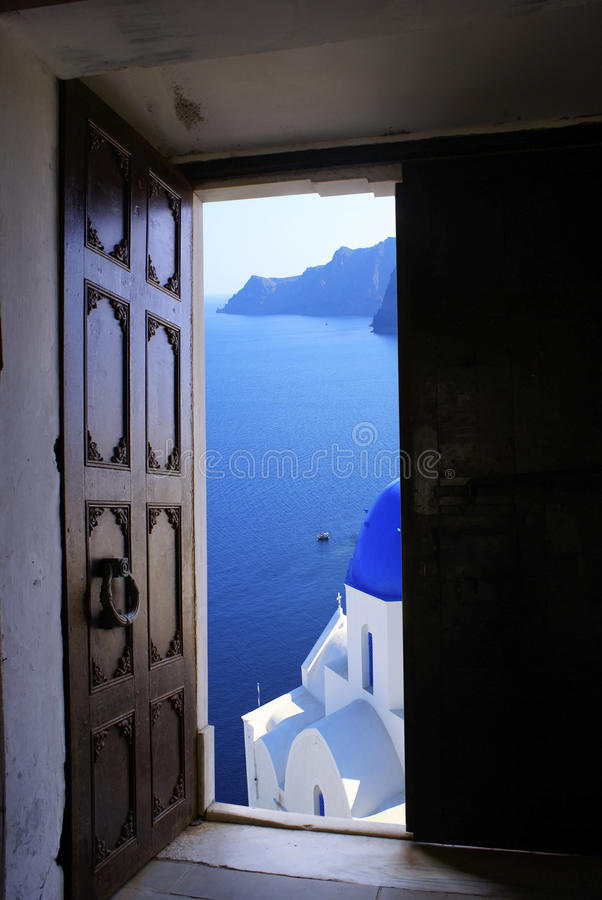 Old Byzantine door with a great view stock photography