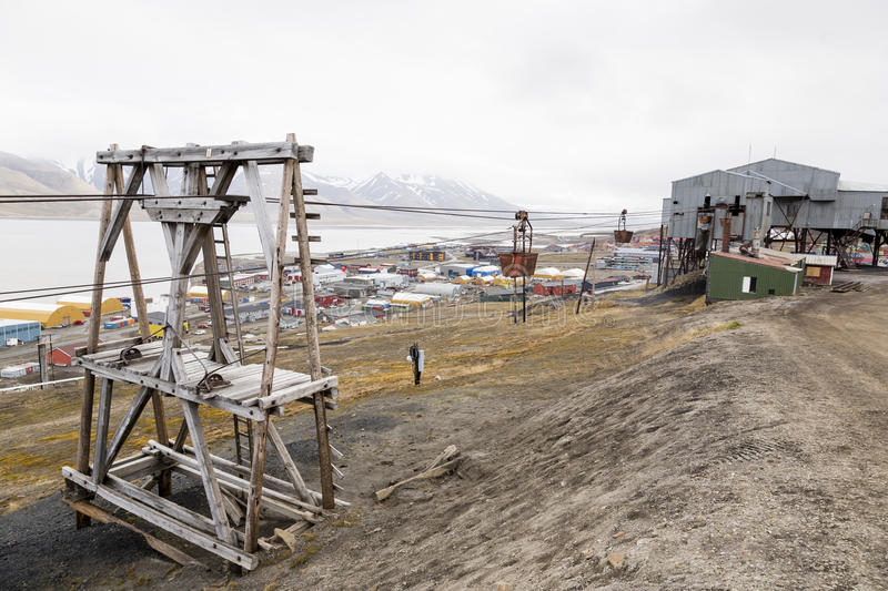 Old cable car for coal transportation in Longyearbyen, Spitsbergen, Svalbard, Norway royalty free stock photography