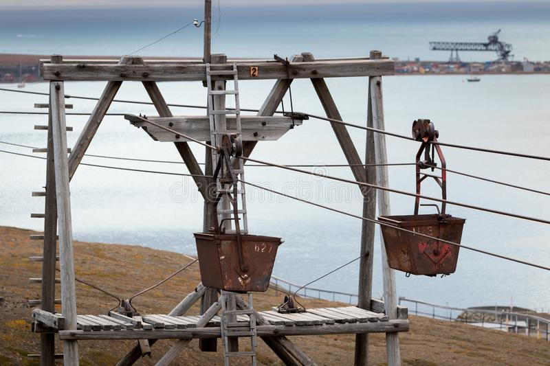 Old cable way for transportation of coal in Longyearbyen, Svalbard royalty free stock photography