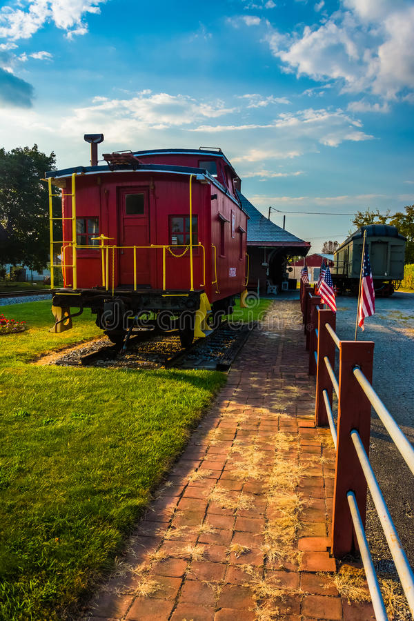 Free Old Caboose At The Railroad Station In New Oxford, Pennsylvania. Royalty Free Stock Photo - 47722265