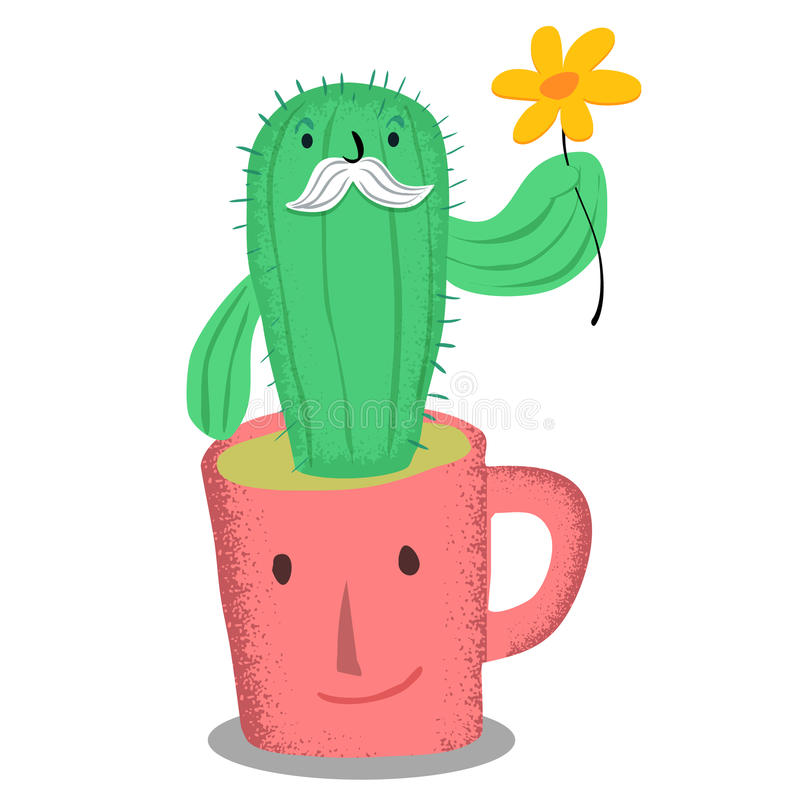 Old cactus in pink coffe cup with yellow flower. Old cactus in pink coffe cup , yellow flower stock illustration