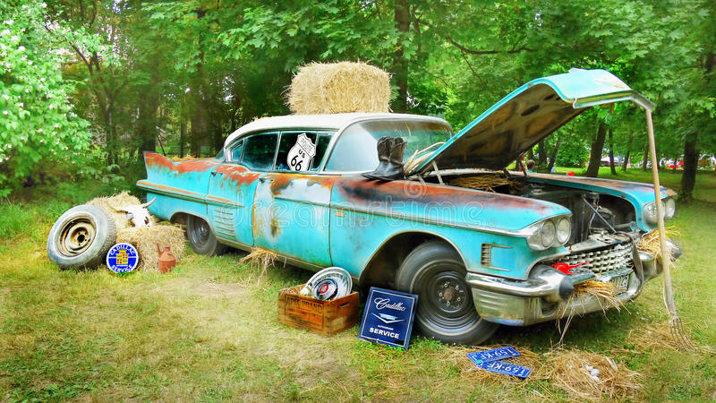 Classic Car Rusty Wreck, Cadillac stock images
