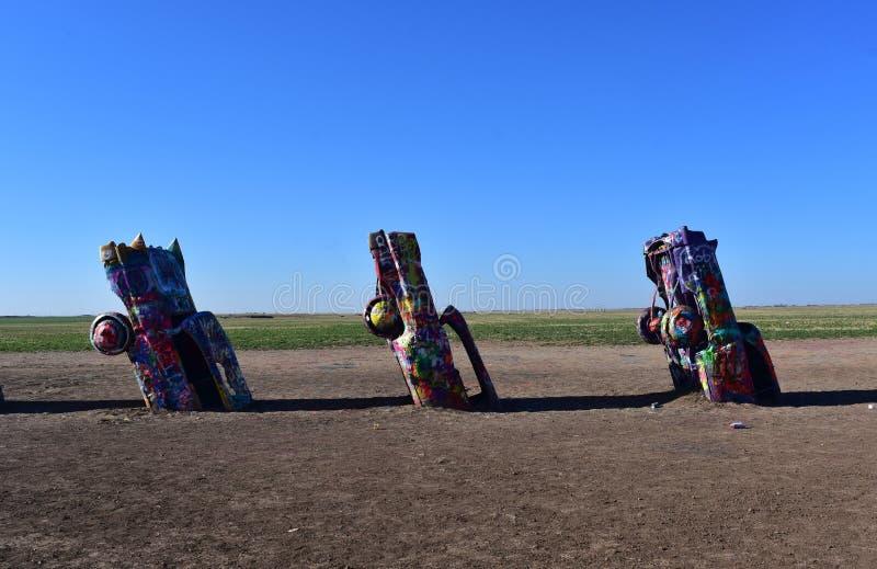 Old Cadillacs Spray Painted in Amarillo Texas royalty free stock photo