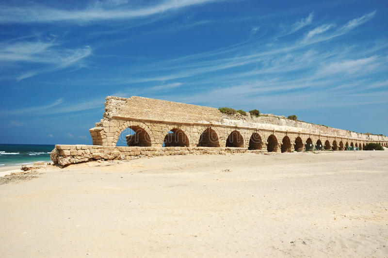 Old Caesarea aqueduct bridge,Israel royalty free stock photography