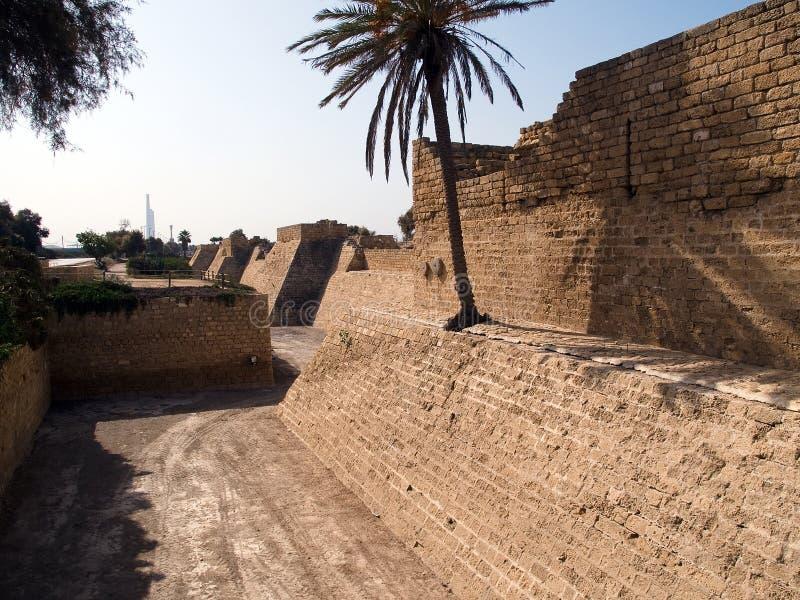 Old Caesarea Israel city walls royalty free stock photography