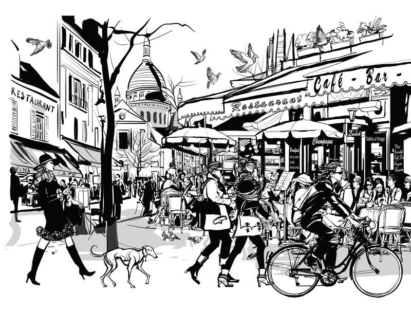 Old cafe in Paris Montmartre royalty free illustration