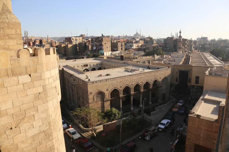 Old Cairo - Fatimid Cairo. Old Cairo Fatimid Cairo as El Azhar Mosque, Hussin Mosque royalty free stock photography