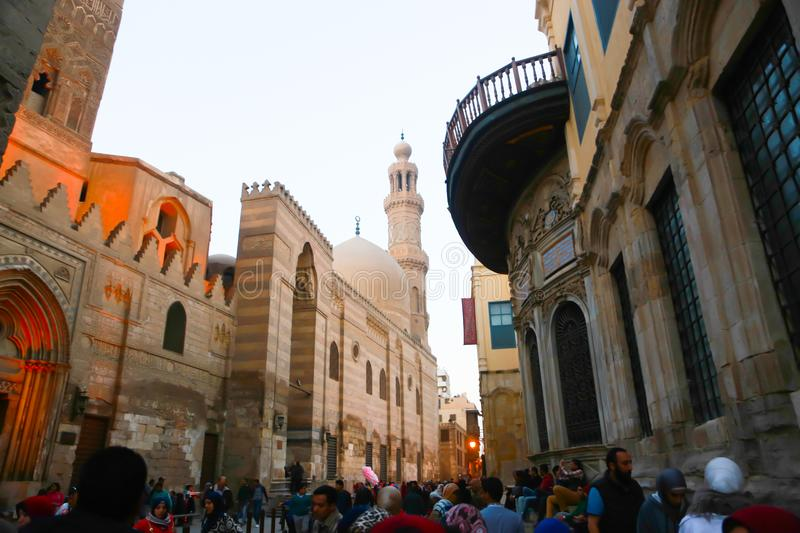Old Cairo - Fatimid Cairo. Old Cairo Fatimid Cairo as El Azhar Mosque, Hussin Mosque royalty free stock images