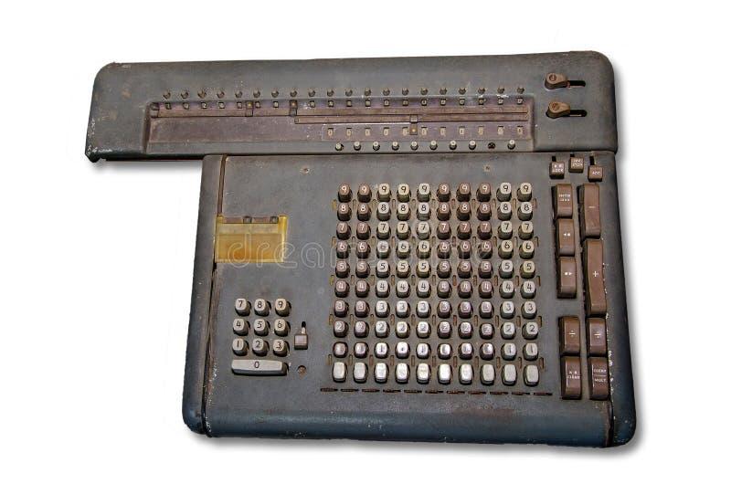 Old calculator machine. Isolated on white background stock photo
