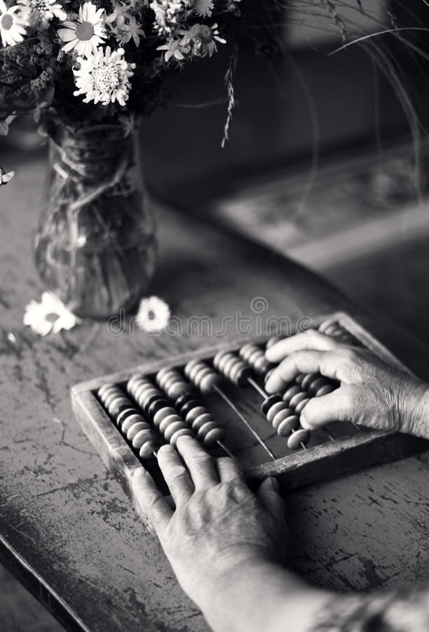 Old calculator . Retro old wooden calculator and beautiful stock photo