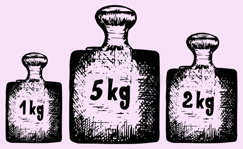Old calibration weights. Doodle style, hand drawn vector illustration